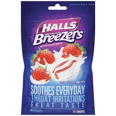 halls-breezers-throat-drops-cool-creamy-strawberry-non-mentholated-25-count-by-halls
