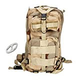 ZTDM Waterproof 20L 3P Tactical Backpack Unisex Bag Sand Color with Alloy Clip