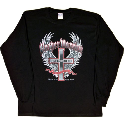 MENS LONG-SLEEVE T-SHIRT : BLACK - LARGE - Prayer Warrior Jesus Christ Holy Divine Son - Christian Cross with Wings Biker