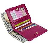 YALUXE Women's Small Compact Bi-fold Leather Pocket Wallet with ID Window Pink