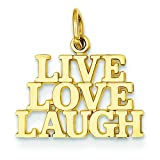 14K Yellow Gold Live Love Laugh Charm Polished Pendant