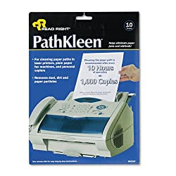 Advantus Read Right PathKleen Laser Printer Cleaning Sheets, 8.5 x 11 Inches Sheets, 10 Sheets per Package (REARR1237)