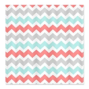 CafePress Coral Aqua Grey White Chevron Shower Curtain Standard