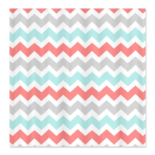 Coral Aqua Grey White Chevron Shower Curtain - Standard White