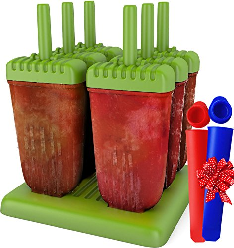 Popsicle Molds with BPA Free Silicon Ice Pop Maker for Pudding, Kids, Baby, Infants, Toddlers, Fudge, Organic Food By IceWabanga - Will Not Melt and Leak Even a Bit - 3 Years Warranty (Commercial Ice Pop Molds compare prices)