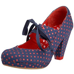 blue and red vegan heels