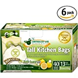 Green N Pack 13 Gallon Drawstring Bag, Tall Kitchen Trash Liners (Lemon-Scent-40-Count (Pack of 6))