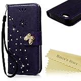 iPhoneSE/5/5S ケース Mavis's Diary 横置き 耐久性 保護ケース 吸着の機能 スタンド 手帳型 PUレザー素材 胡蝶 優雅な花 パープル
