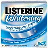 Listerine Whitening Quick Dissolving Strips, Clean Mint Flavor, 56-Count Strips