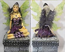 buy Rock Metal Fantasy Fairy Gothic Fairy In Purple Dress With Green Wings Sits On Top Of Small Resin Box. Sexy Beautiful Fairy!Magical Mystical Engagement Ring Box For The Alternative Couple!Fairy On Top Of Box Is Approximately 5.5 Inches Long & Arrives In A