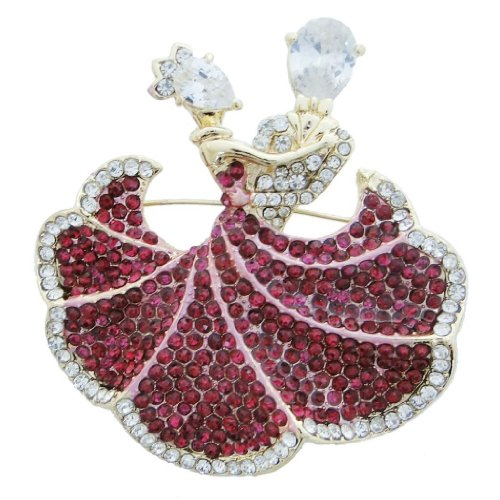 Ever Faith Ballroom Dance Couple Lover Brooch Pin Fuchsia Swarovski Crystal
