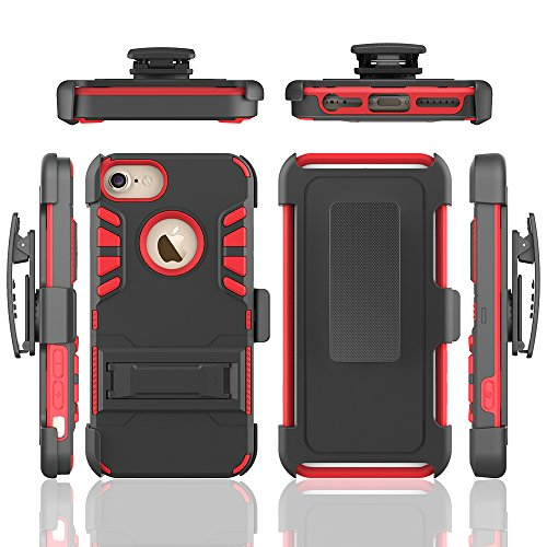 iPhone 6 Plus 6s Plus Case [Belt Clip],Heavy Duty Tough Armor Triple Layer Combo with [Built-in Card Holder & Kickstand] Hard Outter Shell / Inner TPU Soft Silicone Rugged Bumper Cover,Black / Red (Superman Clip compare prices)