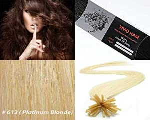 Vivid Hair 100 Strands Straight Micro Ring Links Locks Beads Keratin Stick I Tipped Pre Bonded Human Hair Extensions Color #613 Platinum Blonde 0.75g/strand