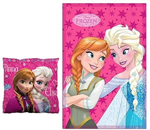 Set da 2 unità con coperta polare Frozen 140 x 100 cm + cuscino rosa 40 x 40 cm + regalo incluso