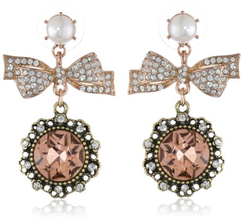 "Betsey Johnson ""Vintage Bows"" Crystal Bow And Gem Drop Earrings front-1084660"