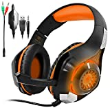 GM-1 Gaming Headset for PS4 Xbox One PC Tablet Cellphone, Stereo LED Backlit Headphone with Mic by AFUNTA-Orange
