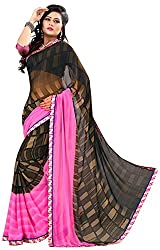Jay Ambe Creation Women's Georgette Saree (ma1212, Pink & Coffee)