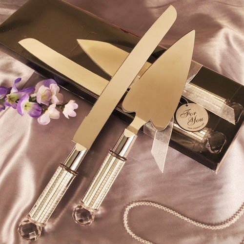 12 Silver Diamond Heart Shaped Cake Server And Cake Knife Set Party Supplies front-1036536