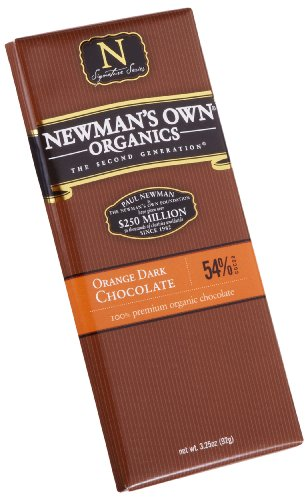 Newman's Own Organics Orange Dark Chocolate Bar, 3.25-Ounce Bars (Pack of 12)