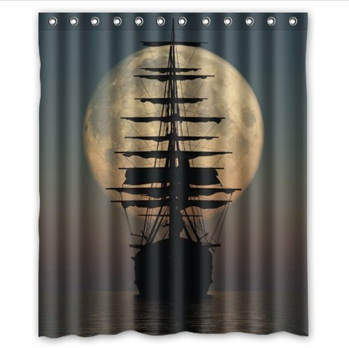 Cool Pirate Ship and Moon Waterproof Bathroom Shower Curtain- Polyester Fabric, 60(w)x72(h) (Cool Shower Curtain compare prices)