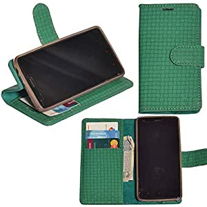 R&A Pu Leather Wallet Flip Case Cover With Card & ID Slots & Magnetic Closure For Micromax Canvas Spark Q380