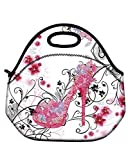 Soft Boys Girls Waterproof Insulated Neoprene Lunch Container School Office Travel Outdoor Work Lunch Bag Tote Cooler Lunch Box Handbag Food Storage Carrying Case (Pink High Heel)HST-LB-144