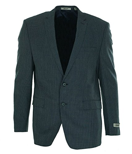 DKNY-Blue-Mini-Check-Wool-Linen-Two-Button-New-Mens-Sport-Coat