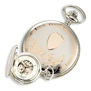 2-tone Rose Gold-plated 17jewel Brass Pocket Watch by Charles Hubert Paris Watches, Best Quality Free Gift Box Satisfaction Guaranteed
