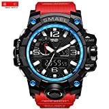 Mens Large Dual Dial Analog Digital Quartz Sport Watch Multifunction Two Timezone 24H Military Waterproof Casual Back Waterproof Date LED Display (Black-Blue-Red) (Color: Black-Blue-Red)