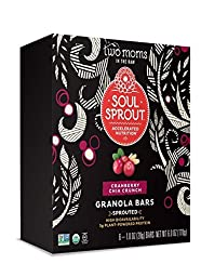 Two Moms in the Raw Soul Sprout Gluten Free Granola Bars, Cranberry Chia Crunch, 6 Oz (Pack of 6)