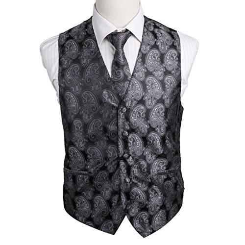 EGD2B05B-XL grigio Patterns microfibra dello smoking del vestito della maglia legame del collo Set eccellente per lavorare da Epoint