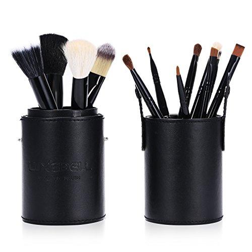Luxebell® - Set da 12 pennelli professionali per make-up, tra cui pennello per ombretto, pennello per fard, pennello per correttore, pennello per labbra, pennello per sopracciglia (Nero)