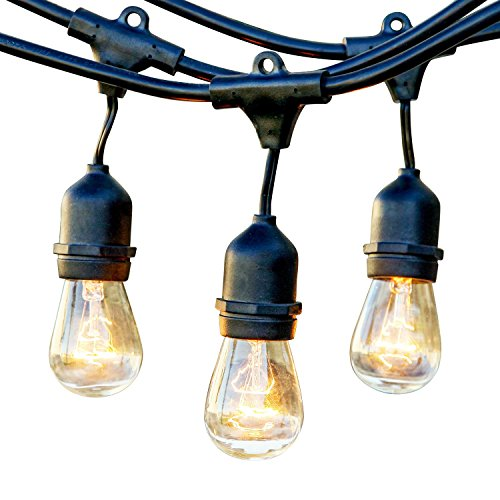 Brightech - Ambience Pro - Outdoor Weatherproof Commercial Grade String Lights with Hanging Sockets - WeatherTite Technology - 11S14 Incandescent Bulbs - Heavy Duty 48-Foot String - Black (String Lights Fruit compare prices)