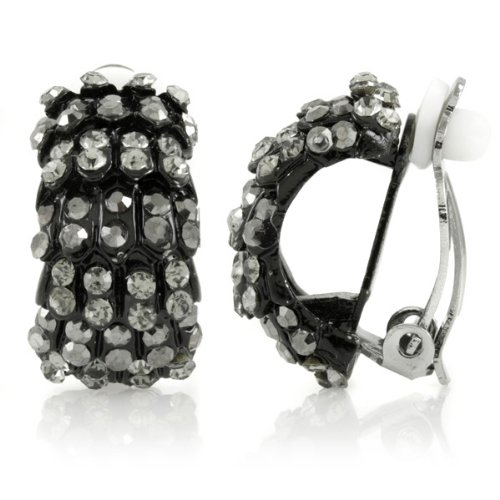 Gertrude's Clip On Hoop Earrings - Black