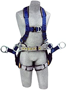 DBI/Sala ExoFit, 1108652 Tower Climbing Harness, Front/Back/Side D-Rings, Belt/Back Pad, Seat Sling W/Position D-Rings, QC Buckles, Large, Blue/Gray