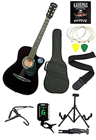 271be0e7243 Compare. Jixing JXNG-BLK-SC1,Black Acoustic Guitar with Kadence Foldable  Guitar Stand,