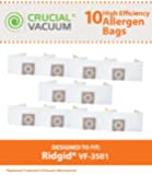 10 Ridgid VF3501 Allergen Bags, Fits 3-4.5 Gallon Wet & Dry Vacuums, Compare to Part # VF3501, Designed & Engineered by Crucial Vacuum