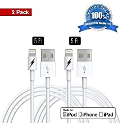 (2 Pack) 5 FT Certified iPhone 5 & 6 Charging Cable Lightning Cord - Genuine Authentication Chip Ensures The Fastest Charge and Sync For Latest iPads iPods & IOS Devices. Lifetime Guarantee!