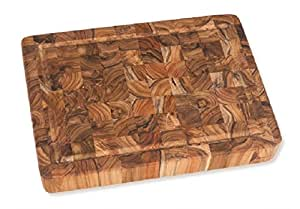 "Proteak Rectangular Cutting Board, 20"" x 14"" x 2-1/2"" with Hand Grip and Juice Canal #313"