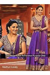 Designer Tyrian purple ROW SILK Bollywood Replica Dress.