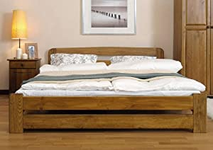 """New Solid Bed Frame, The """"ONE"""" with slats : (Oak, King size)"""