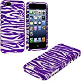 myLife Purple + Silver Zebra Stripes Series (2 Piece Snap On) Hardshell Plates Case for the iPhone 5/5S (5G) 5th... by myLife Brand Products