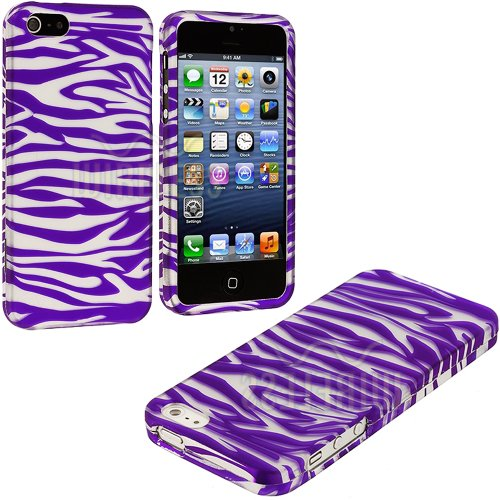 Mylife Purple + Silver Zebra Stripes Series (2 Piece Snap On) Hardshell Plates Case For The Iphone 5/5S (5G) 5Th Generation Touch Phone (Clip Fitted Front And Back Solid Cover Case + Rubberized Tough Armor Skin)