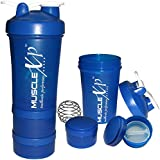 MuscleXP AdvancedStak Protein Shaker For Professionals (Blue & White) With Steel Ball - Design 14