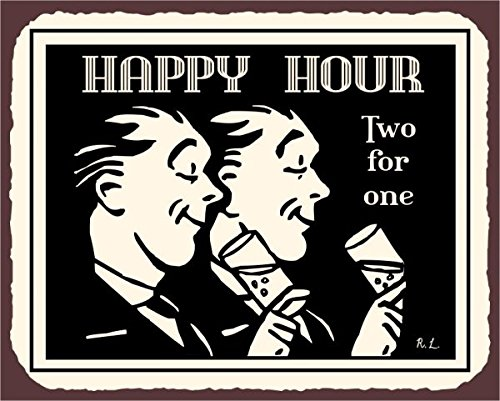 Happy Hour due per uno stile vintage in metallo Art Bar Retro latta metallo Tin Sign 7x 10segni in metallo vintage