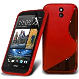 (Red) HTC Desire 610 Elegant S line Hydro Wave Gel Skin Case Cover & Screen Protector By *Aventus*