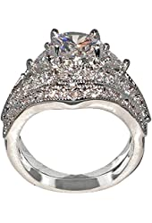 Antique Style Queen Victoria 2.94 Ct. Round-shape and Triangle-shape Cz Cubic Zirconia Engagement Bridal Wedding 2 Pc. Ring Set (Center Stone Is 2 Cts.)