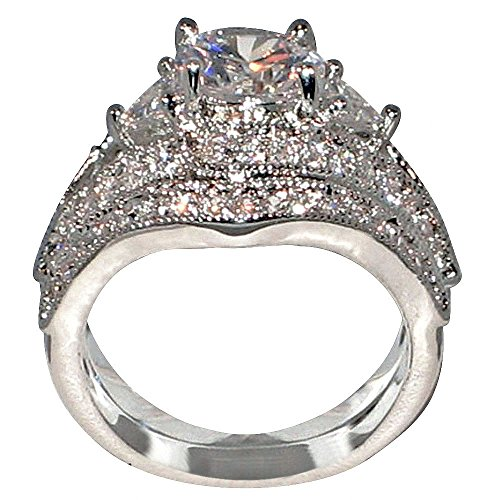 Antique Style Queen Victoria 2.94 Ct. Round-shape and Triangle-shape Cz Cubic Zirconia Engagement Bridal Wedding 2 Pc. Ring Set (Center Stone Is 2 Cts.) (5.5)