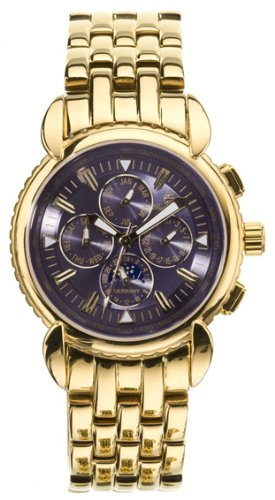 Burgmeister Boston Bm117-239 Gents Automatic Analogue Wristwatch Gold Plated Blue Dial Day Date Month 24H  Day-Night