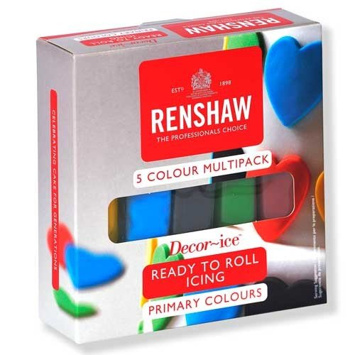 Renshaw Decor-ice Ready to roll icing fondant . 5 Primary colour Multipack . 5 x 100g Bars . By The Baker Shop